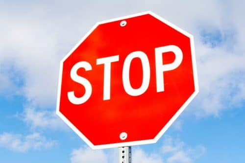 Lower Your Risk of Being Injured in a Car Accident by Stopping Fully at Every Stop Sign
